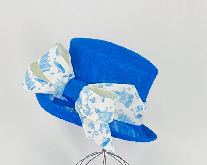 Royal Blue Sinamay with Chinoiserie Bow