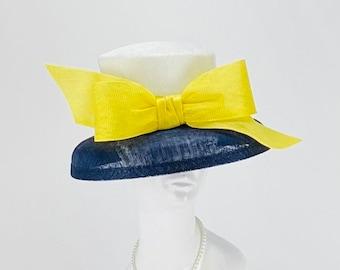 Navy, white and yellow small brim hat