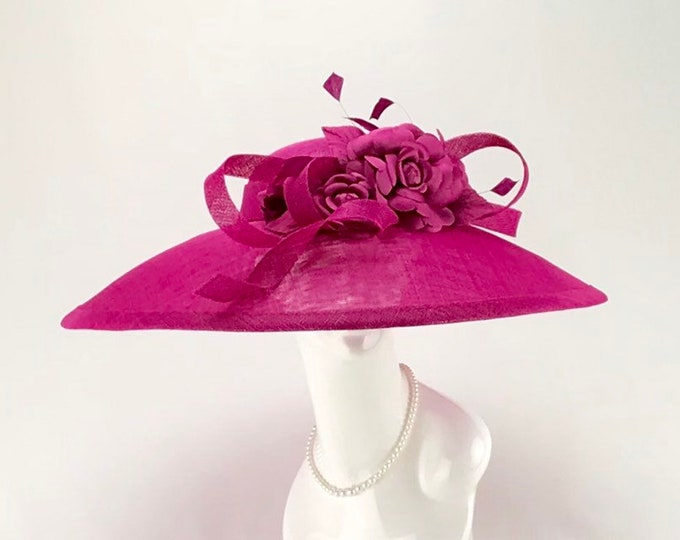 Fuchsia Wide Brim Sinamay Hat