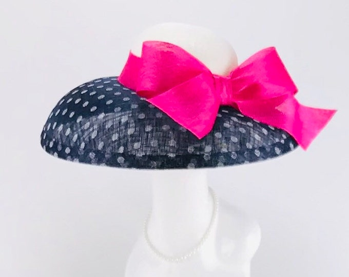 Navy and White Polka Dot Sinamay Hat with Fuchsia Bow
