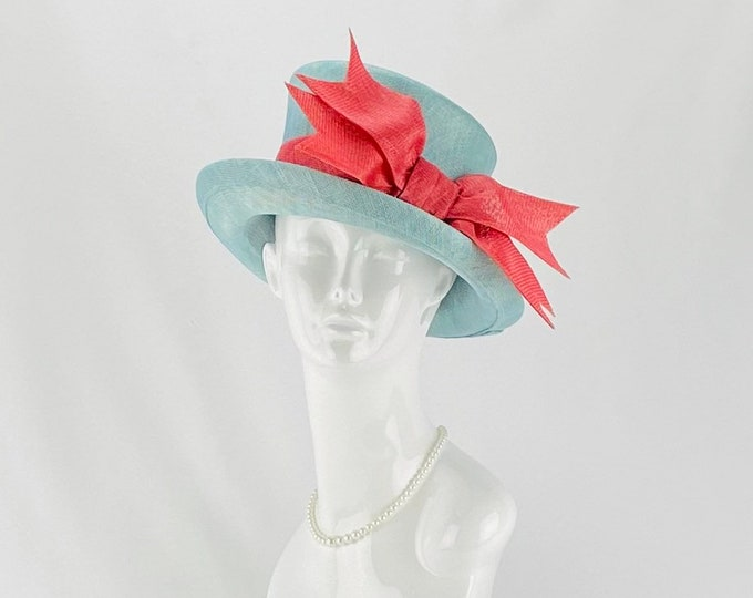 Light Blue and Watermelon Pink Sinamay Hat