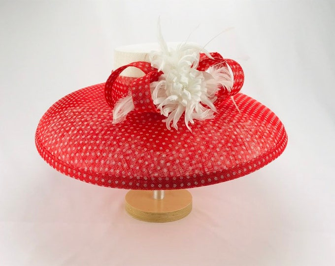 Red and White Polka Dot Sinamay Hat