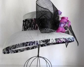 Light Blue Gray Wide Brim Hat - custom design
