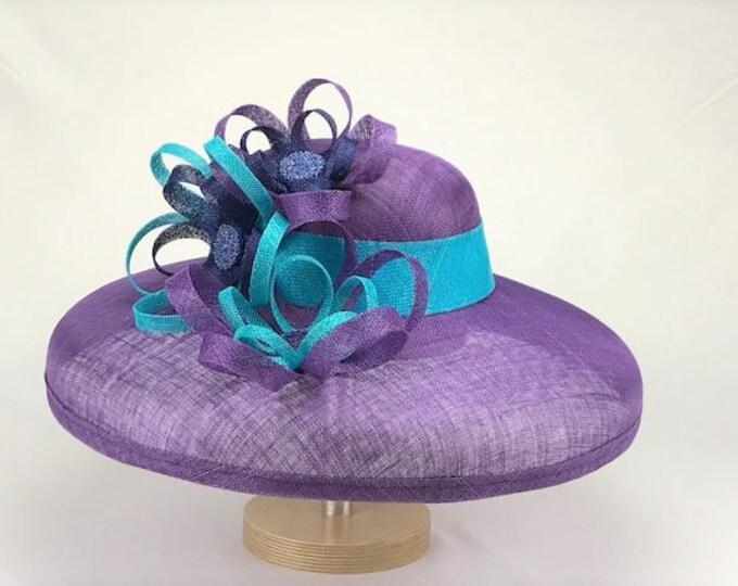 Purple Wide Brim Sinamay Hat