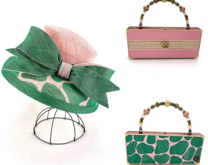 Pink and Green Giraffe Sinamay Hat