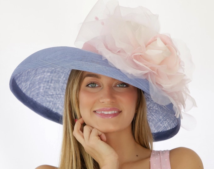 Lavender Sinamay Wide Brim Hat with Silk Grand Millinery Rose