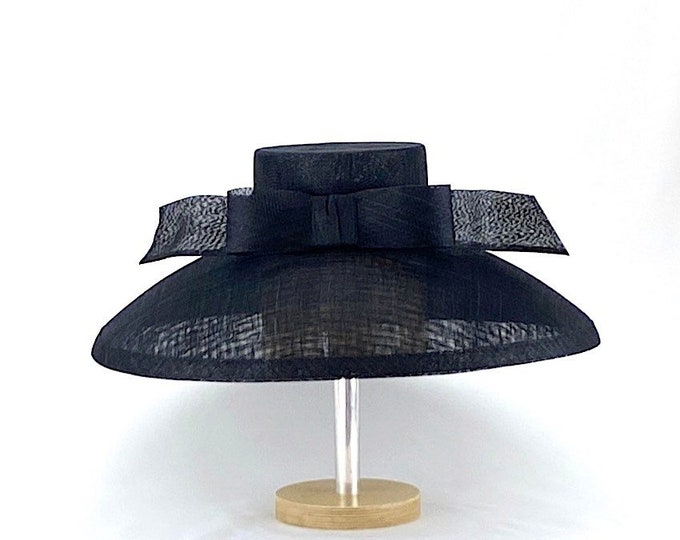 Black Wide Brim Sinamay Hat
