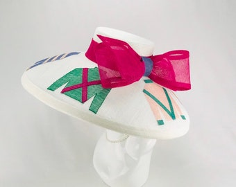 White Sinamay Jockey Silks Wide Brim Hat