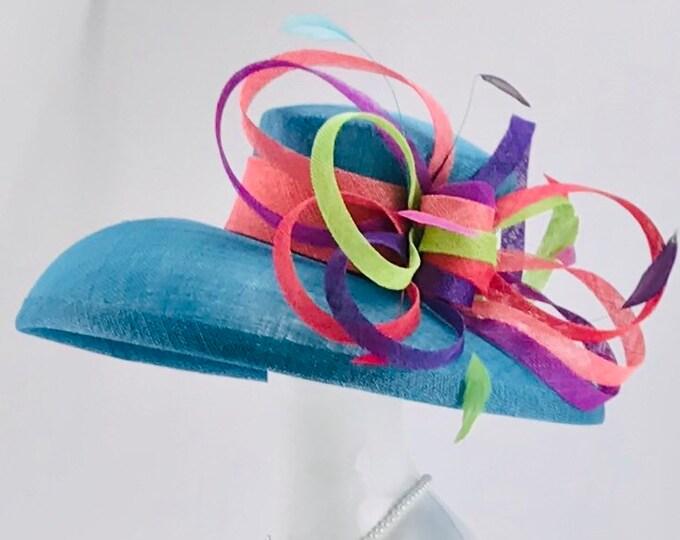 Aqua Blue Wide Brim Sinamay Hat