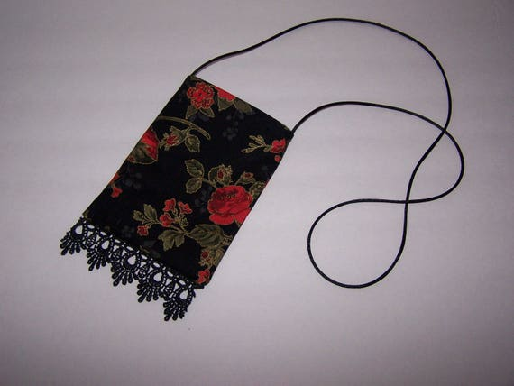 Pouch Bag Crossover Phone case Small Pink Bandana Fabric With Fringe Bottom Edge Strap Handmade Lined 6.5 X 4.5