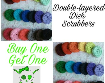 Buy 1, Get 1 Free, Eco-Friendly Durable Double Layered Tulle Dish Scrubbies, Scrubs, Scrubbers Crochet, PLEASE READ DESCRIPTION