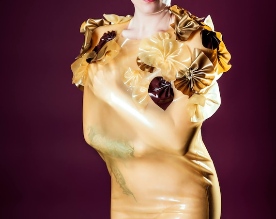 Latex transparent nude jacket sauna saunasack bondage flowers gold nature Brown Couture fetish Rubber