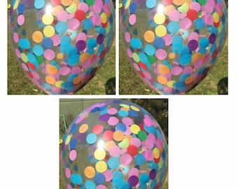 Rainbow Party Clear Confetti Balloons - Pack of 3 - Circle Tissue Paper Confetti -