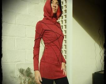 Tunic dress, dress with hood, red tunic, dress Elf, red dress, hood, handmade
