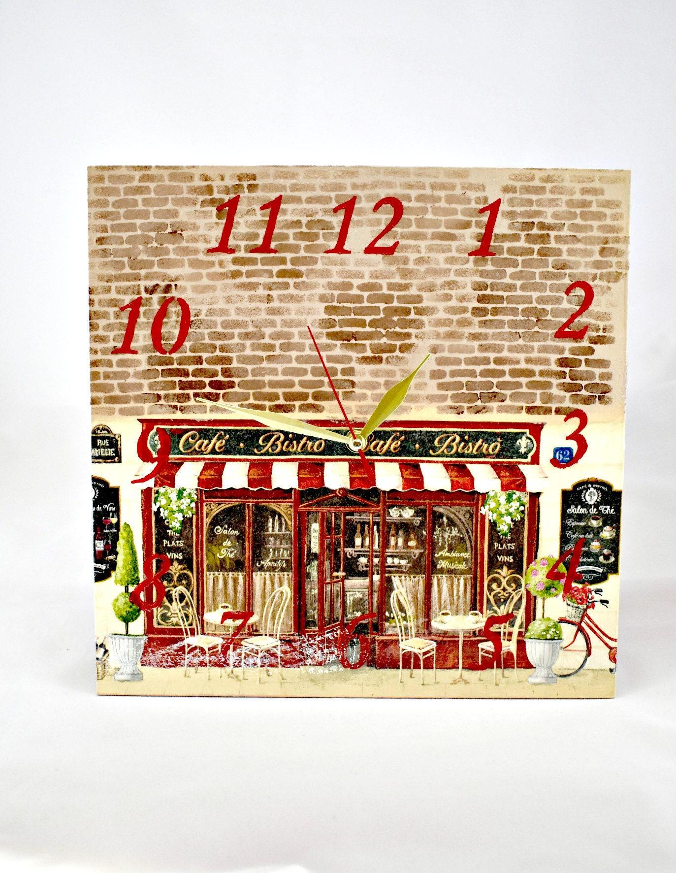 Wanduhr Bistro Cafe / Wand Uhr Bild Dekor / Vintage Dekor | Etsy