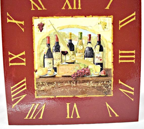 Wall Clock Wine/Kitchen Decor/Bottles of wine/Decoupage wall clock
