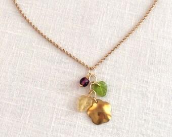 Short chain charm necklace. Gold chain pendant necklace. Delicate gold necklace. Multi charm necklace. Drop necklace, purple, green necklace