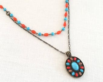 Long turquoise pendant necklace. Multi strand necklace. Turquoise necklace, orange beads, long multi layered statement necklace. Multi chain