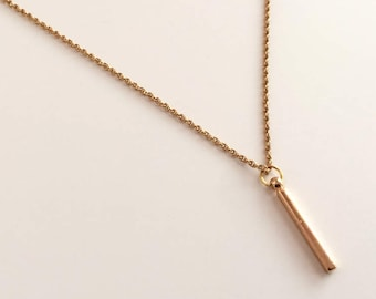 Vertical gold bar necklace. Skinny bar necklace, bar pendant gold chain necklace. Gold vertical bar pendant layering necklace, gold chain.