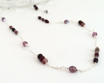 Long silver chain necklace, long gemstone necklace. Stone bead necklace. Gemstone beaded chain, silver chain necklace. Pink stone necklace.