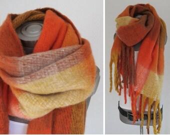 XXL fleece foulard, moutarde orange de rouille brun foulard jaune,  accessoires, les damiers écharpe foulard frangé, écharpe plus épaisse,  klobiger écharpe, ... 1ab4badf1de