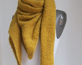 xl triangular cloth scarf, fluffy cloth, webschal mustard yellow corn yellow wool-mix cloth fluffy cuddly scarves ladies cloths winter warm