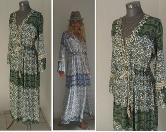 Weisses hippie kleid lang