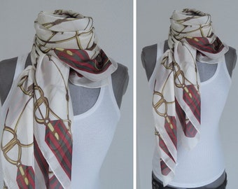00e18803f8c foulard scarf necklace neckerchief off-white red gold horse harness tackle  silk mix
