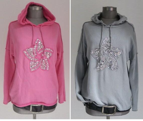 Hoody Sweater pink, Blumen Sweatshirt, Pailletten Sweater Sweatshirt, Sweater angerauht Blume Stern, Oberteil Damen pink, pinkes Sweatshirt