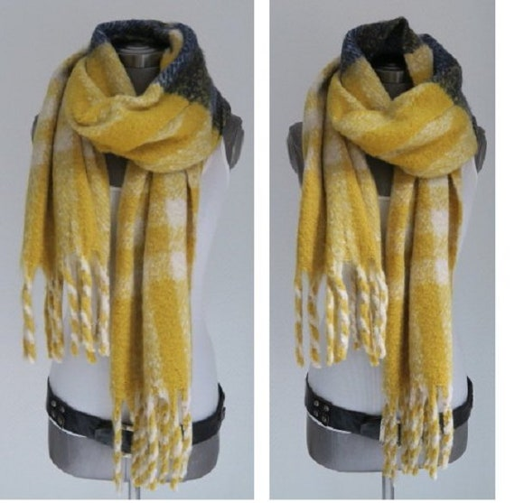 XXL fleece foulard rehbraun jaune moutarde blanche laine gris   Etsy 29bee43bf02