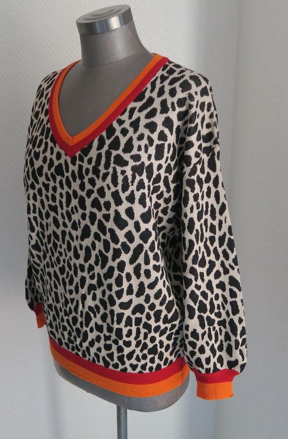 beste Qualität für exzellente Qualität begrenzte garantie Pullover leo print, patterned oversized sweater, animal print sweater with  stripe, sweater stripe at the waund, oversize pulli leo pattern beige
