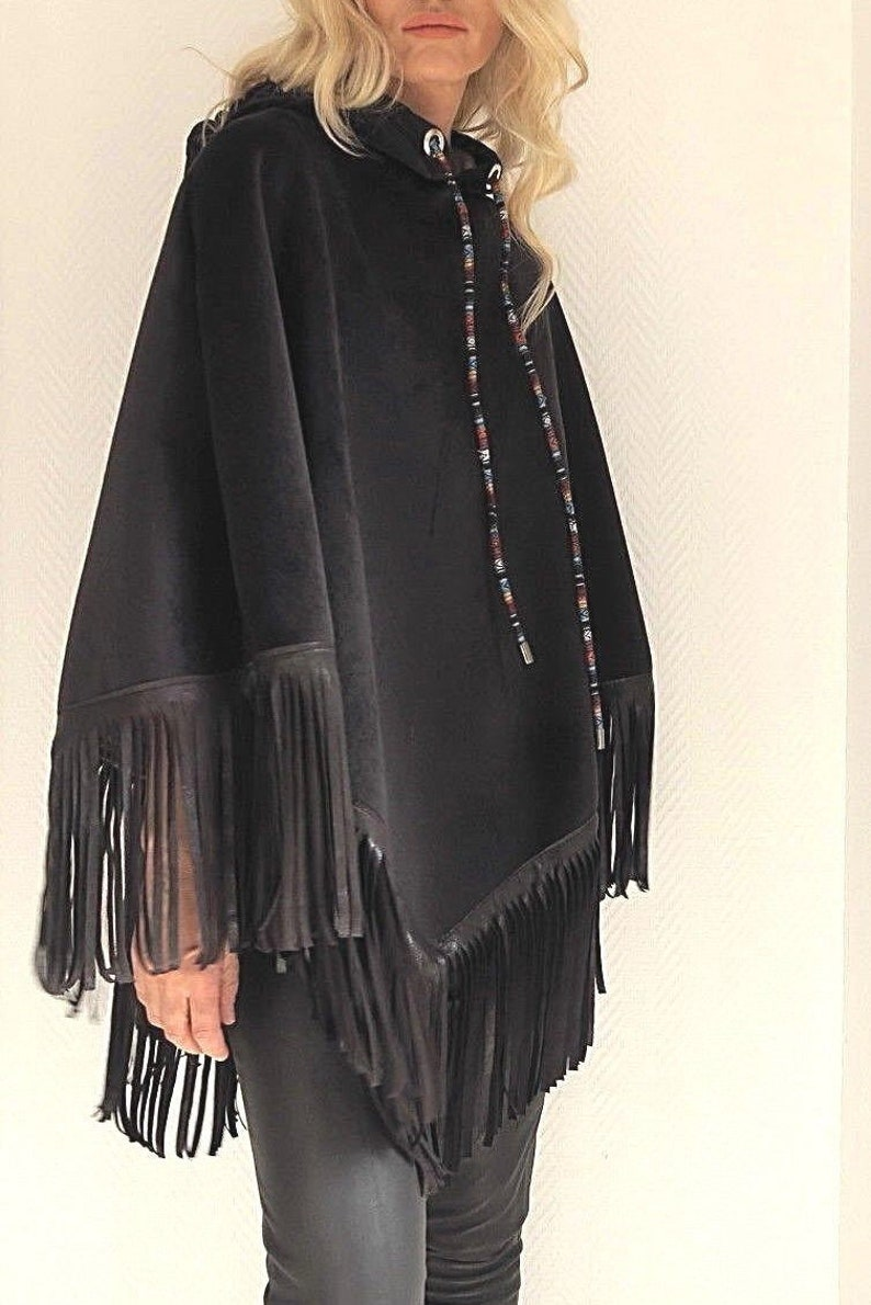 dark blue velvet poncho with artificial leather loose threads image 0