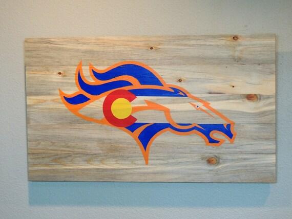 Denver broncos colorado flag custom hand painted wall art