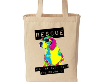 RESCUE All The Cool Kids Are Doing It - Fundraiser Canvas Tote Bag
