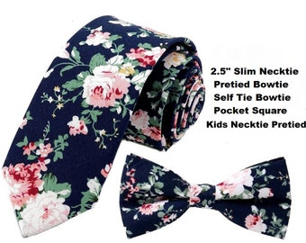 "Dark Blue Pink Floral Tie  or Bow Tie or Matching Pocket Square Navy Blue Slim 2.5"" Groomsmen Ties Groomsman Wedding Necktie Free Shipping"