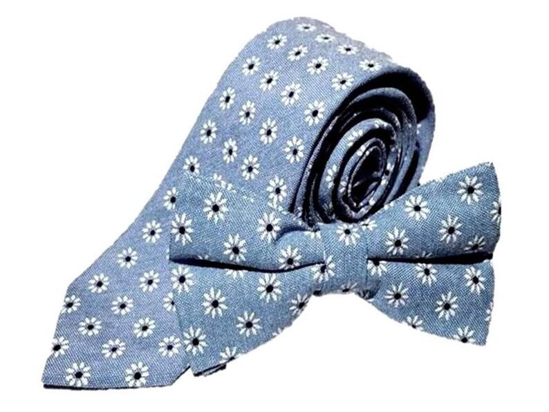 1061a2af10fa Blue White Floral Tie or Bow Tie or Pocket Square Necktie Slim   Etsy