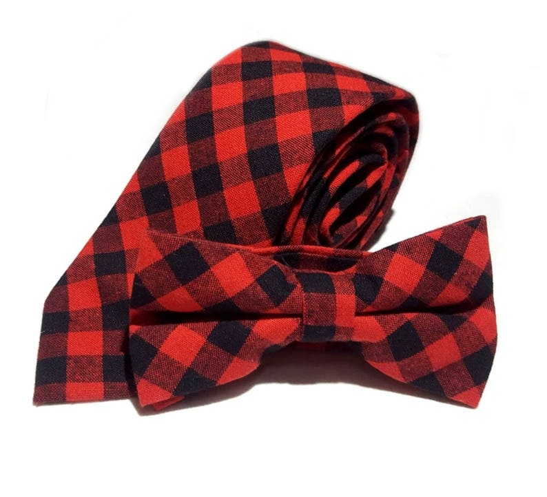c575add150094 Red Black Plaid Buffalo Check Necktie Bow Tie or Pocket   Etsy