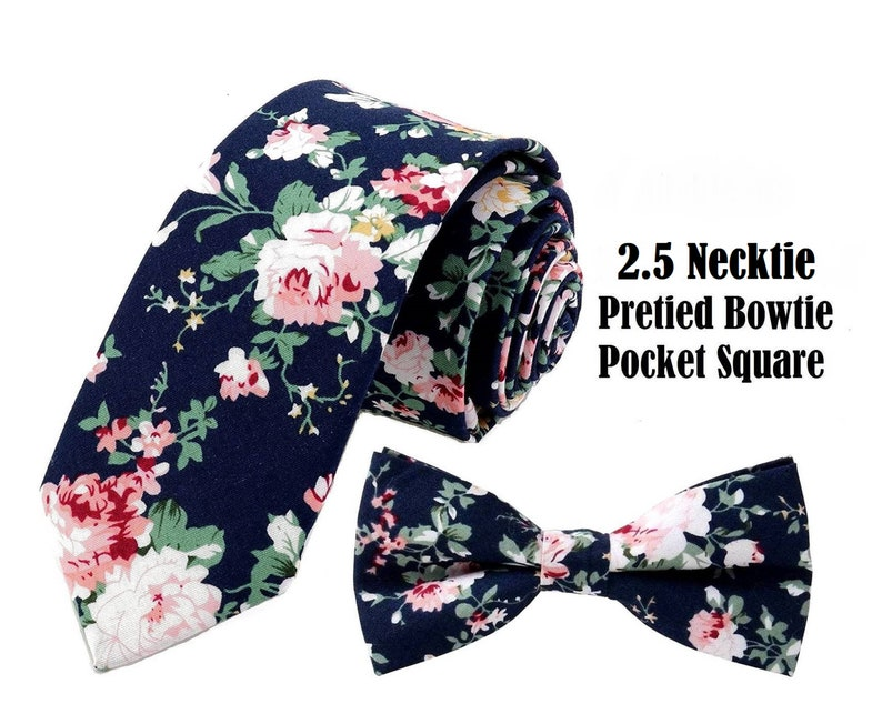 Dark Blue Pink Floral Tie  or Bow Tie or Matching Pocket image 0