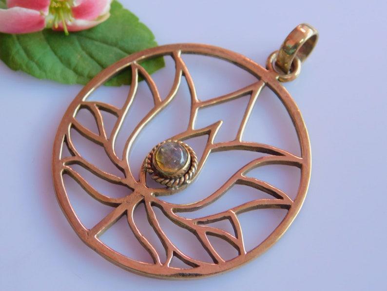 Sacred Geometry Tribal Inspired  Bohemian Jewelry Brass pendent Labradorite Gemstone Healing pendent Seed Of Life,Lotus Pandant,