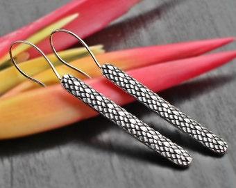 Snake Skin Pattern Long Bar Earrings, Silver earring, sterling long earring, small metalwork, boho bar jewelry, stick dangle, line earring