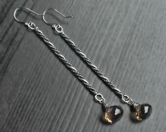 Smoky Quartz long bar earrings, brown silver earrings, brown quartz, smoky quartz jewelry, stick earrings, rope earrings, tiny drop dangles