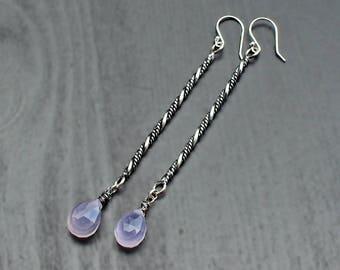 Lavender Chalcedony long bar earrings, super long earrings, thin bar dangles, boho silver dangles, gift earrings, purple chalcedony jewelry
