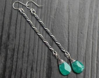 Green Onyx long bar earrings, green stick earrings, unique bridal earrings, hippie earrings, teardrop earrings, 925 onyx earrings, bohemian
