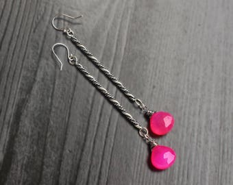 Hot Pink Chalcedony long bar earrings, neon pink earrings, summer earrings 925, modern earrings, unique silver jewelry, boho jewelry, gifts