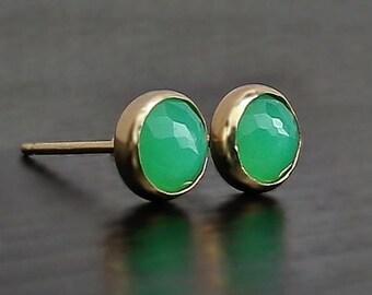 Chrysoprase 14K Gold Earrings, 6 mm chrysoprase post, green earrings gold, unique chrysoprase, wife anniversary gift, lime green studs, cute