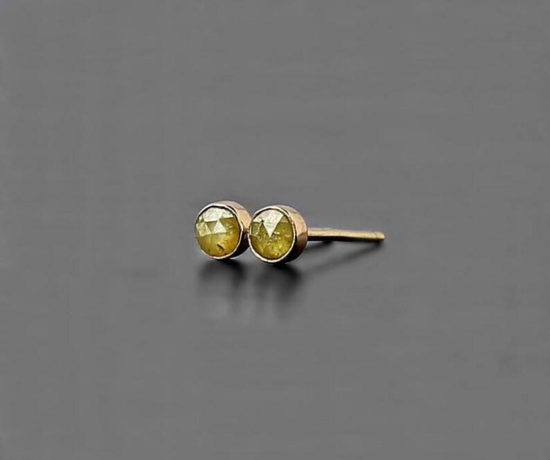 Mini Yellow Diamond 14K Earrings diamond bezel studs 3 mm diamond earrings diamond jewelry small diamond gift karat petite gold studs