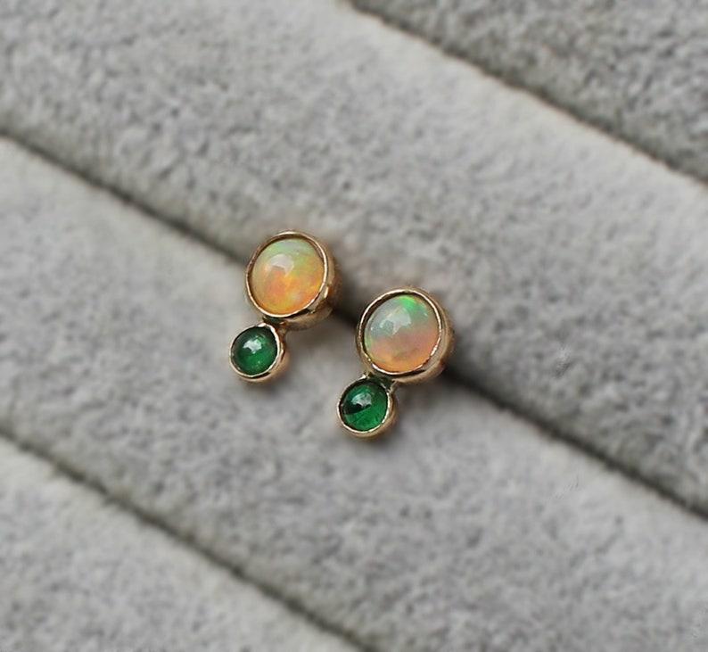 Et Double Lunette De 14k D'oreillesEarstuds Forme ÉmeraudeEarstudsD'oreilles En Opale 8Véritable Or Émeraude Boucles 1F3Tul5KJc