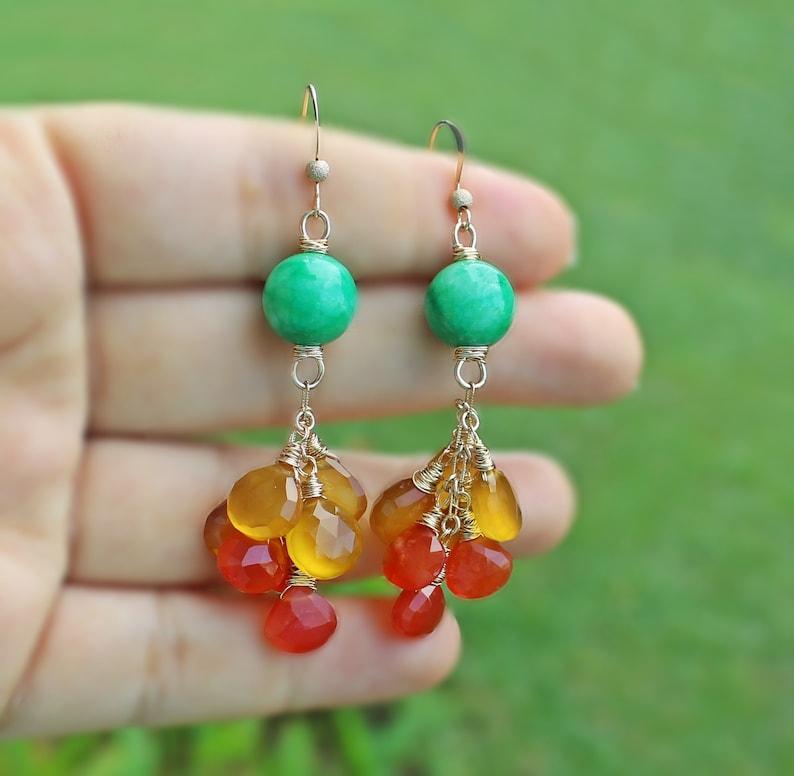 Jade-Chalcedony-Carnelian 14K Gold Filled Earrings green yellow orange jewelry colorful earrings multi gem large statement earrings