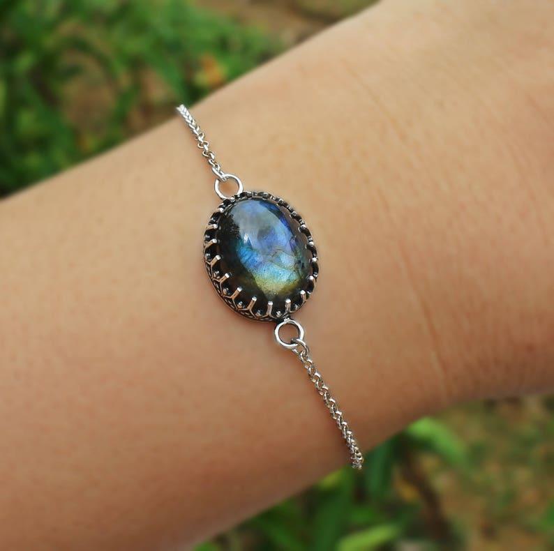 gents bracelet oval labradorite bohemian bracelet Labradorite Boho Bezel Bracelet sterling silver bracelet Labradorite 925 bracelet