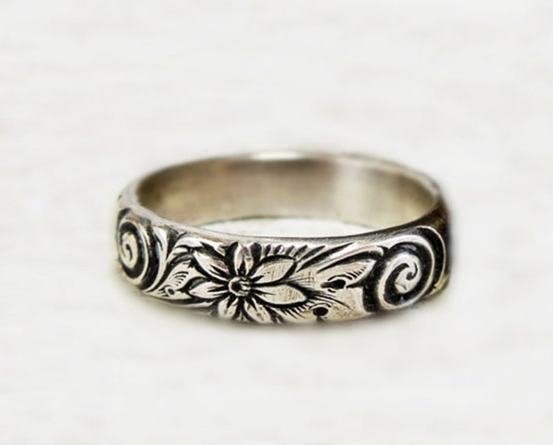designer ring metalwork ring boho ring flower band sterling silver band unique silver ring solid ring Wide Silver Floral Band gift